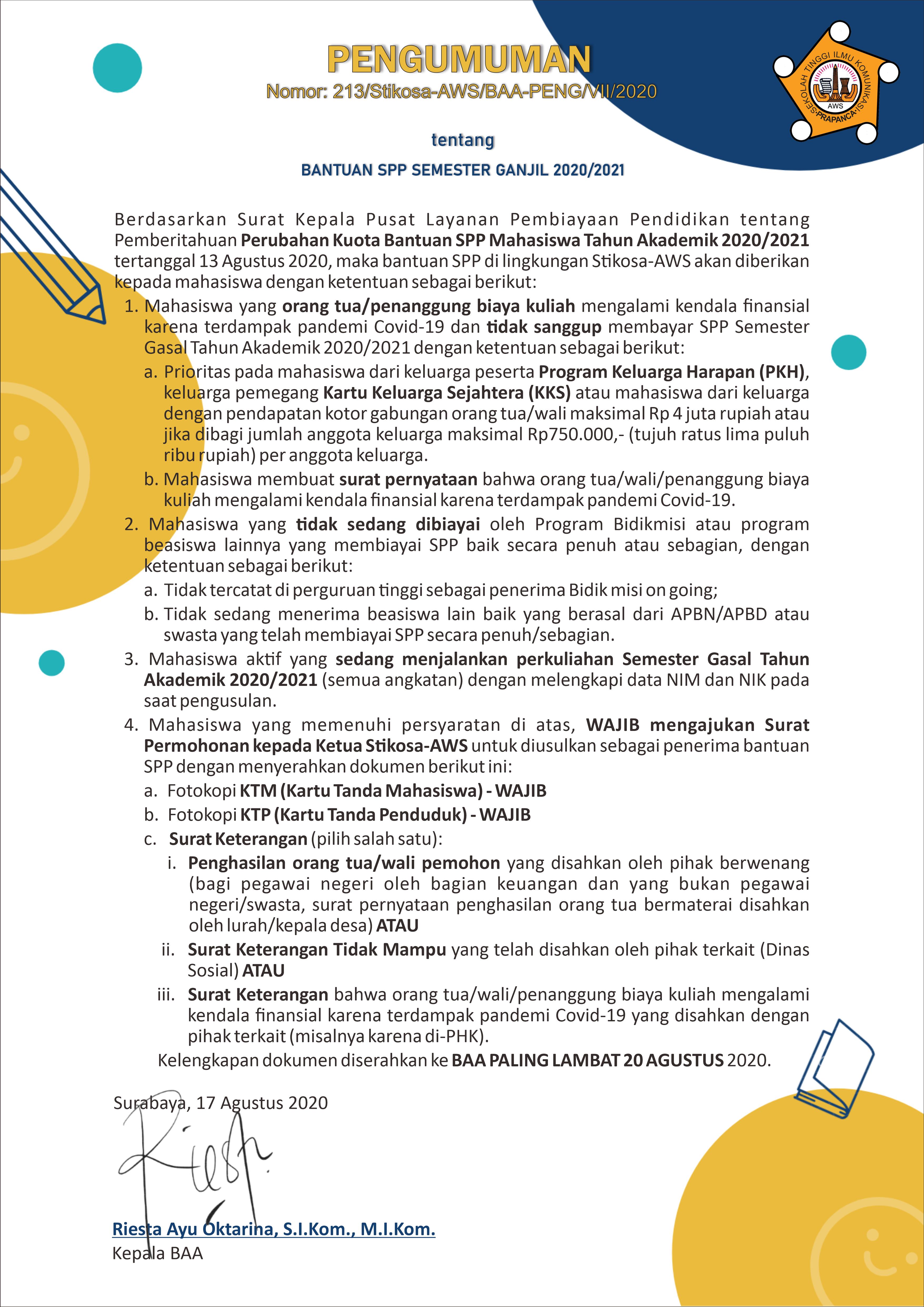 Bantuan SPP Semester Ganjil 2020
