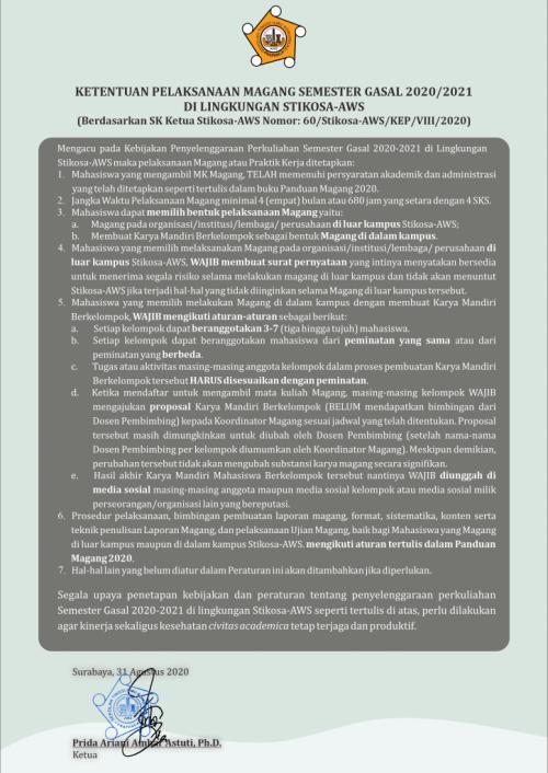 Ketentuan Pelaksanaan Magang smt. Gasal 2020/2021
