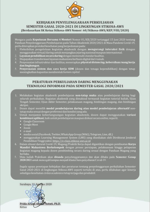 Kebijakan Penyelenggaraan Perkuliahan smt. Gasal 2020/2021